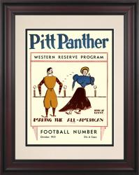 1931 Pittsburgh Panthers vs Western Reserve 10 1/2 x 14 Framed Historic Football Poster - Mounted Memories