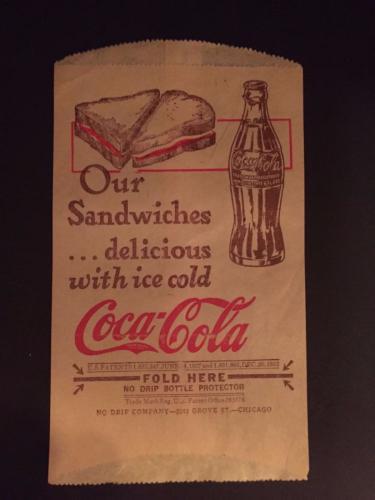 """1932 Coca-Cola, """"Un-Used"""" No-Drip Bottle Bag"""