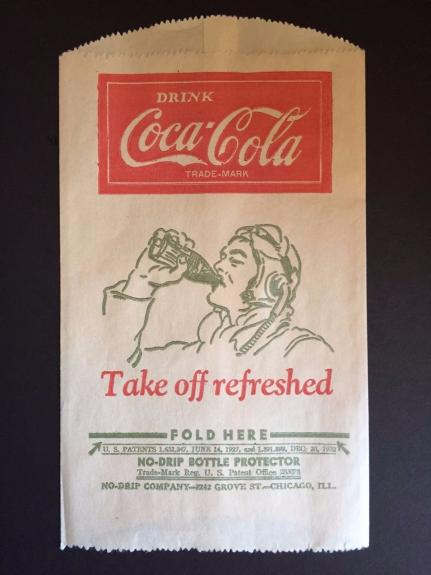 "1932 Coca-Cola, ""Un-Used"", 'No-Drip"" Bottle Bag (Airforce Logo)"