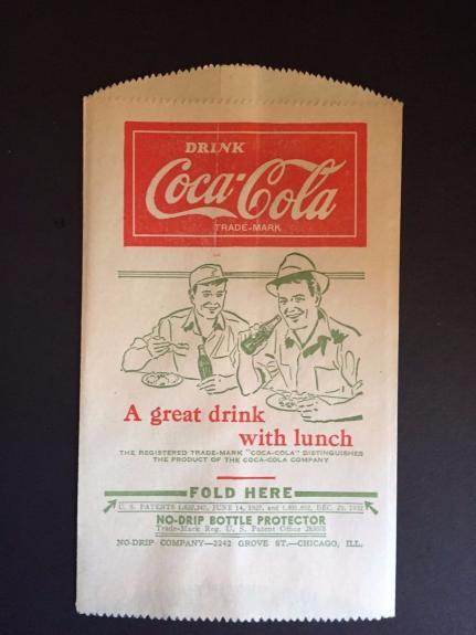"""1932 Coca-Cola, """"Un-Used"""" No-Drip Bottle Bag (Men at Lunch Logo)"""