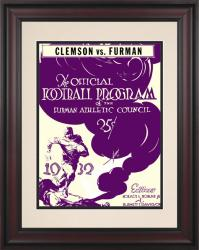 1932 Furman vs Clemson Tigers 10 1/2 x 14 Framed Historic Football Poster - Mounted Memories