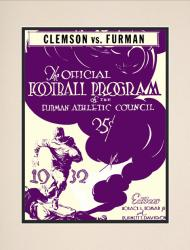1932 Furman vs Clemson Tigers 10 1/2 x 14 Matted Historic Football Poster