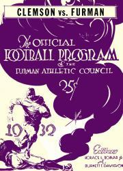 1932 Furman vs Clemson Tigers 22x30 Canvas Historic Football Poster
