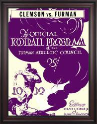 1932 Furman vs Clemson Tigers 36x48 Framed Canvas Historic Football Poster