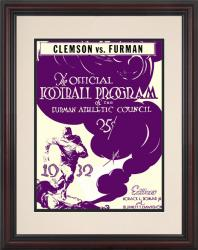 1932 Furman vs Clemson Tigers 8.5'' x 11'' Framed Historic Football Poster