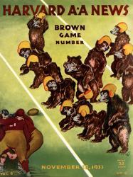 1933 Harvard Crimson vs Brown Bears 22x30 Canvas Historic Football Poster