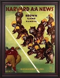1933 Harvard Crimson vs Brown Bears 36x48 Framed Canvas Historic Football Poster