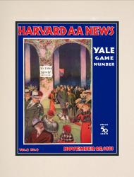 1933 Harvard Crimson vs Yale Bulldogs 10 1/2 x 14 Matted Historic Football Poster - Mounted Memories