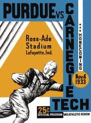 1933 Purdue Boilermakers vs Carnegie Tech 22x30 Canvas Historic Football Poster