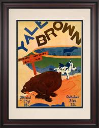 1933 Yale Bulldogs vs Brown Bears 10 1/2 x 14 Framed Historic Football Poster - Mounted Memories