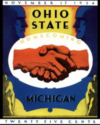 1934 Ohio State Buckeyes vs Michigan Wolverines 22x30 Canvas Historic Football Poster