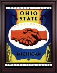 1934 Ohio State Buckeyes vs Michigan Wolverines 36x48 Framed Canvas Historic Football Poster