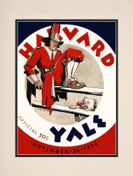 1934 Yale Bulldogs vs Harvard Crimson 10 1/2 x 14 Matted Historic Football Poster - Mounted Memories