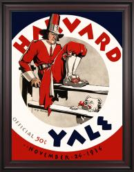 1934 Yale Bulldogs vs Harvard Crimson 36x48 Framed Canvas Historic Football Poster - Mounted Memories