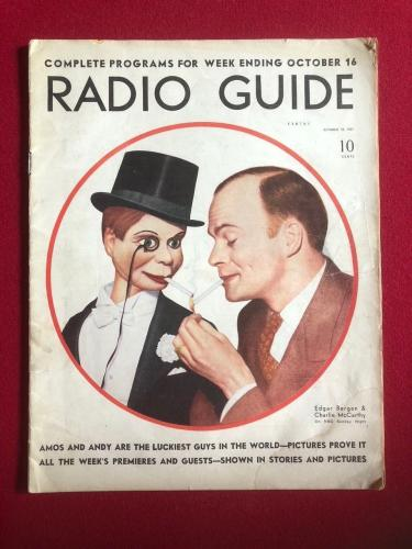 "1937, Edgar Bergan & Charlie McCarthy, ""RADIO GUIDE"" Magazine (Scarce)"