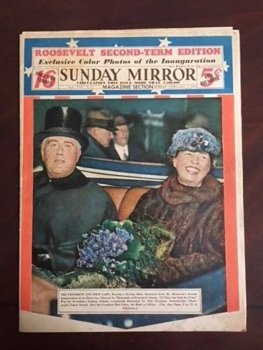 "1937, Franklin D. Roosevelt (Elenor), ""Sunday Mirror"" Newspaper (Scarce)"