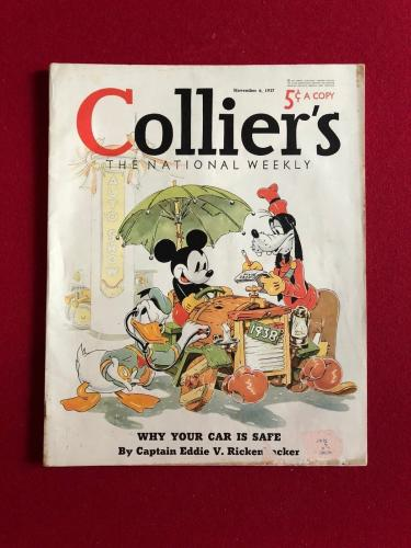 "1937, Walt Disney,""Collier's"" Oversize Magazine (No Label) Mickey Mouse (Scarce)"
