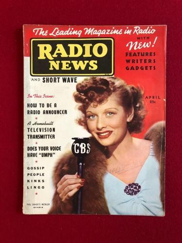 "1938, Lucille Ball, ""RADIO NEWS"" Magazine (No Label)) (Scarce)  (I Love Lucy)"