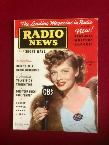 "1938, Lucille Ball, ""RADIO NEWS"" Magazine (No Label)) (Scarce)  (I Love Lucy)"