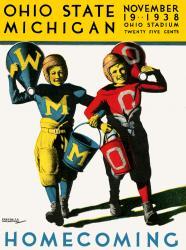 1938 Ohio State Buckeyes vs Michigan Wolverines 22x30 Canvas Historic Football Poster