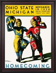 1938 Ohio State Buckeyes vs Michigan Wolverines 36x48 Framed Canvas Historic Football Poster