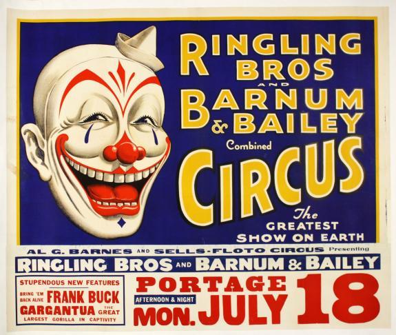 1938 Orig Laughing Clown,Ringling Bros&Barnum Bailey Circus w/Frank Buck,38 x 44