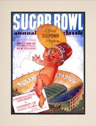 1938 Santa Clara vs LSU Tigers 10 1/2 x 14 Matted Photo Historic Football Poster - Mounted Memories