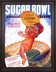 1938 Santa Clara vs LSU Tigers 36x48 Framed Canvas Historic Football Poster