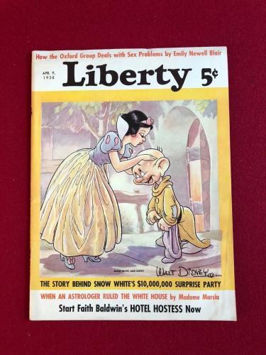 "1938, Walt Disney, Snow White ""Liberty"" Magazine (No Label)  (Scarce)"