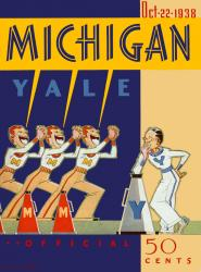 1938 Yale Bulldogs vs Michigan Wolverines 22x30 Canvas Historic Football Poster
