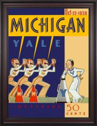 1938 Yale Bulldogs vs Michigan Wolverines 36x48 Framed Canvas Historic Football Poster