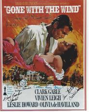 "1939 Movie ""GONE with the WIND"" Signed by OLIVIA DE HAVILLAND, RAND BROOKS (Passed Away 2003), CAMMINE KING (Passed Away 2010), WILLIAM BAKEWELL (Passed Away 1993), and ANN RUTHERFORD (Passed Away 2012) 8x10 Color Photo"