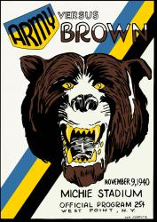 1940 Army Black Knights vs Brown Bears 22x30 Canvas Historic Football Poster