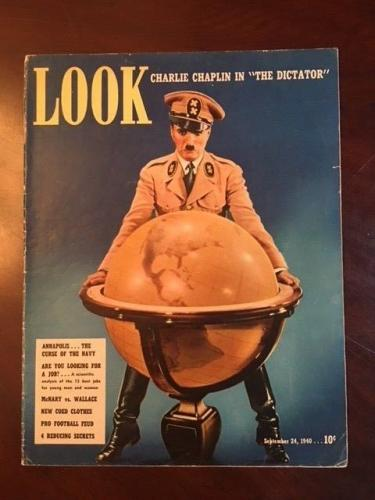 "1940, Charlie Chaplin, ""LOOK""  Oversize Magazine (No Label) Scarce"
