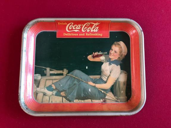 "1940, Coca-Cola ""Sailor Girl"" Metal Serving Tray (Scarce)"