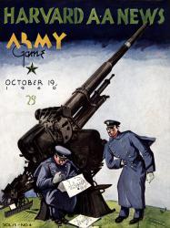 1940 Harvard Crimson vs Army Black Knights 22x30 Canvas Historic Football Poster