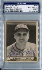 1940 Play Ball GEORGE L KELLY Signed Auto Slabbed Card Boston Bees HOF PSA/DNA
