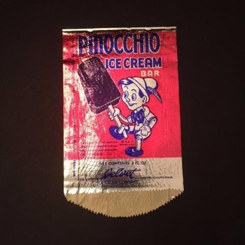 "1940's Walt Disney, Pinocchio, ""Un-Used"" Ice Cream Bar Foil Wrapper"