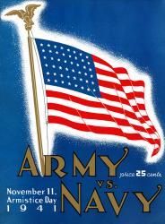 1941 Army Black Knights vs Navy Midshipmen 22x30 Canvas Historic Football Poster