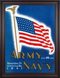 1941 Army Black Knights vs Navy Midshipmen 36x48 Framed Canvas Historic Football Poster