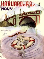 1941 Harvard Crimson vs Navy Midshipmen 22x30 Canvas Historic Football Poster