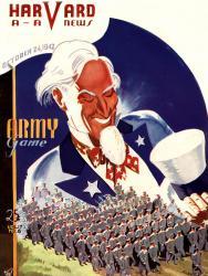 1942 Harvard Crimson vs Army Black Knights 36x48 Canvas Historic Football Poster