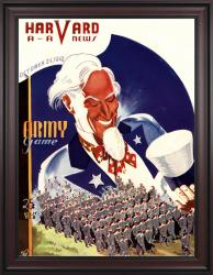 1942 Harvard Crimson vs Army Black Knights 36x48 Framed Canvas Historic Football Poster