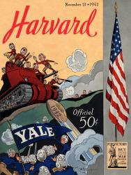 1942 Yale Bulldogs vs Harvard Crimson 22x30 Canvas Historic Football Poster