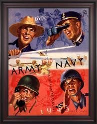 1943 Army Black Knights vs Navy Midshipmen 36x48 Framed Canvas Historic Football Poster