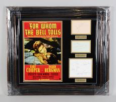 1943 For Whom the Bell Tolls Signed Cut 25×28.5 Display- Gary Cooper, Katina Paxinou & Ingrid Bergman – JSA Full LOA