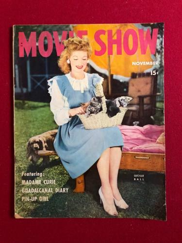 """1943, Lucille Ball, """"MOVIE SHOW"""" Oversize Magazine (Scarce) (I Love Lucy)"""