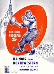 1943 Northwestern Wildcats vs Illinois Fighting Illini 22x30 Canvas Historic Football Poster