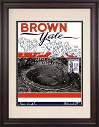 1943 Yale Bulldogs vs Brown Bears 10 1/2 x 14 Framed Historic Football Poster - Mounted Memories
