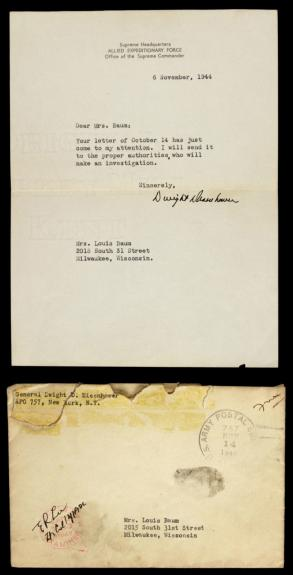 1944 Dwight D. Eisehnower Signed Allied Expeditinary Letterhead w/Orig Env. JSA